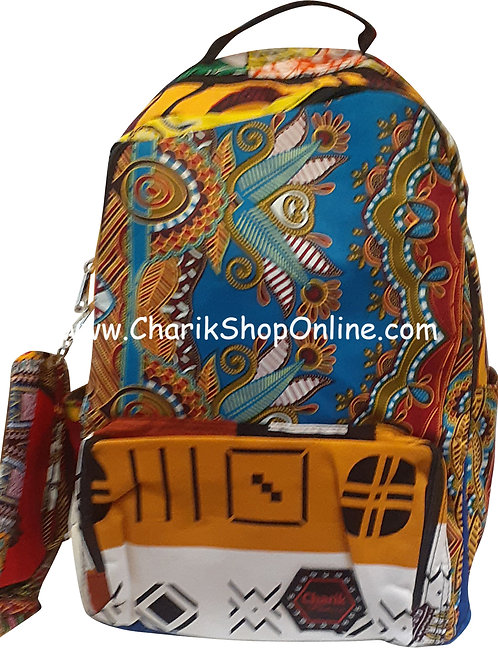 Ankara Print African Print Backpack Orange White Print
