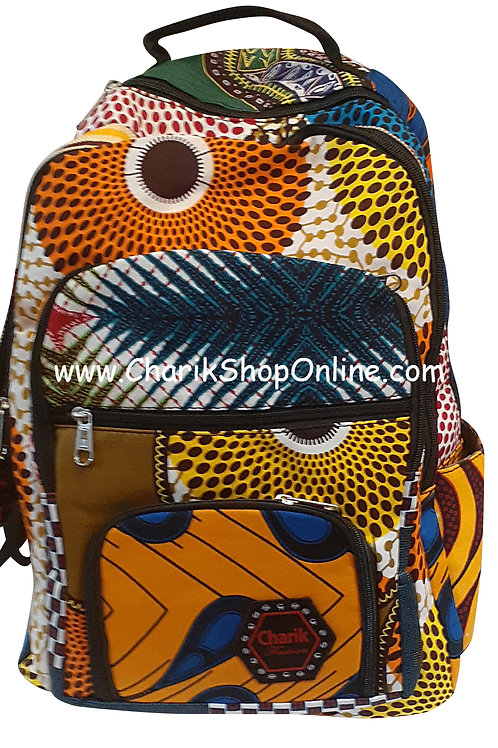 Ankara Print African Print Backpack Orange Pouch