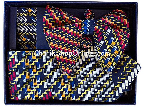 Ankara Orange Block Print Classic Bow Tie - handkerchief - cuff lin