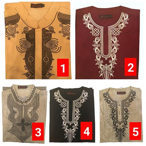 5 African embroidered dashiki men's shirt Size Large Set #7