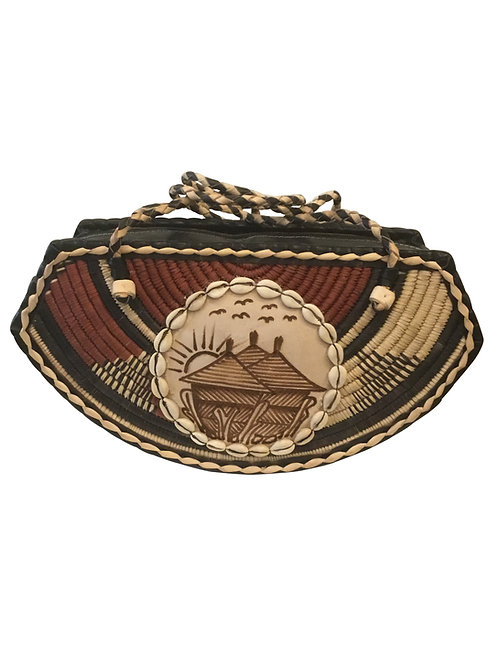 Ankara African Rope & Leather Half Moon Tote Bag #5