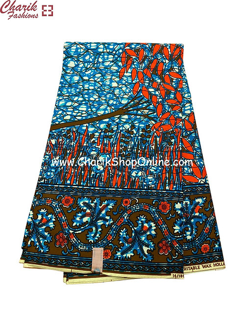 African Wax Print  6 yards/ Ankara fabric/ Forest Blue ankara/