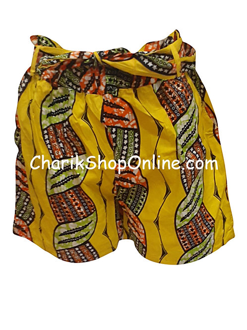 African Ankara print shorts with belt Red Braid