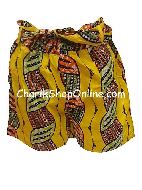 African Ankara print shorts with belt Red Braid