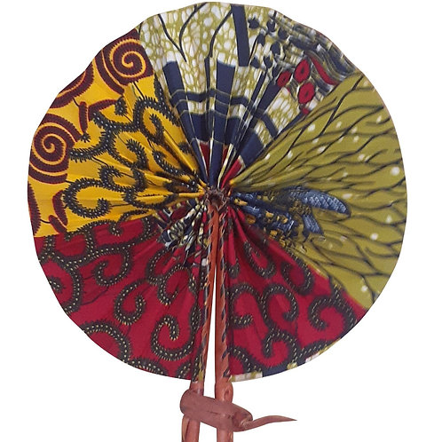 African Folding Hand Fan Yellow Magenta. Quality Fabri