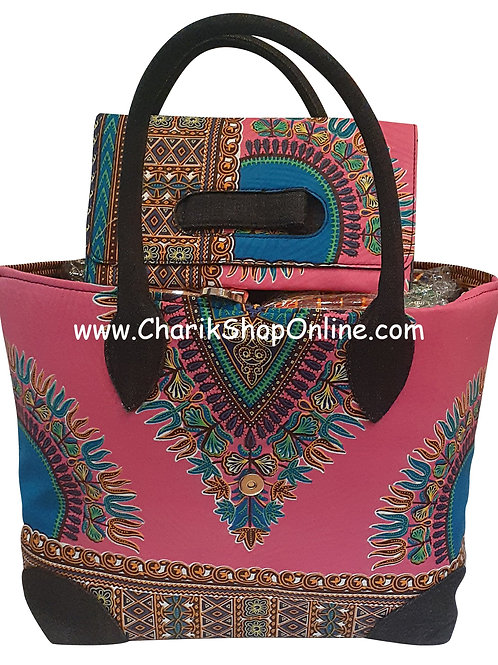 Ankara purse/ dashiki handbag reversible denim/ Ankara bag Pink