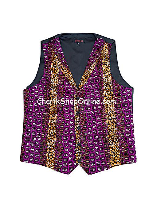 African Print men suit vest Purple Punch