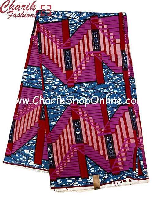 African Wax Print  6 yards/ Ankara fabric/ Purple Steps a ankara/
