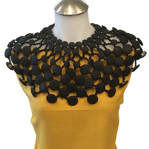Black Handmade Ankara / African Print Button and Bead Cape Necklace