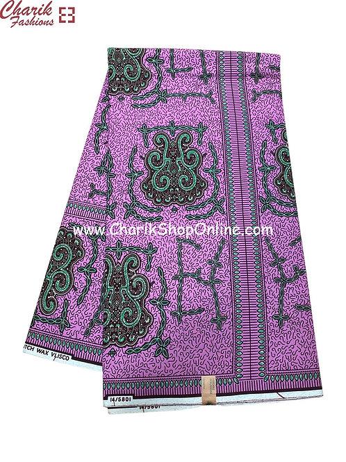 African Wax Print  6 yards/ Ankara fabric/ Purple crest ankara/