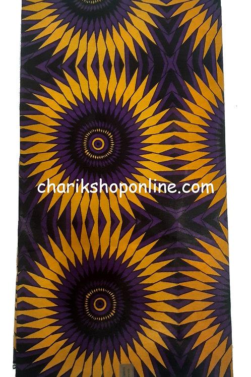 African Wax Print 6 yards/ Ankara fabric/ Purple Gold Fan ankara/