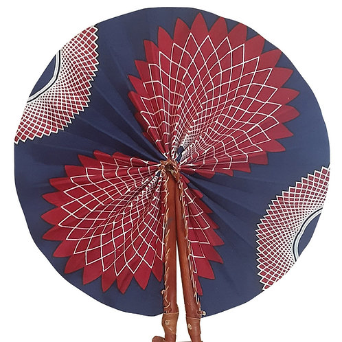 African Folding Hand Fan Maroon Lotus Quality Fabric