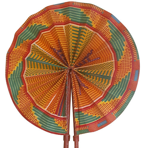 African Folding Hand Fan Orange Green Mosaic Quality Fabri