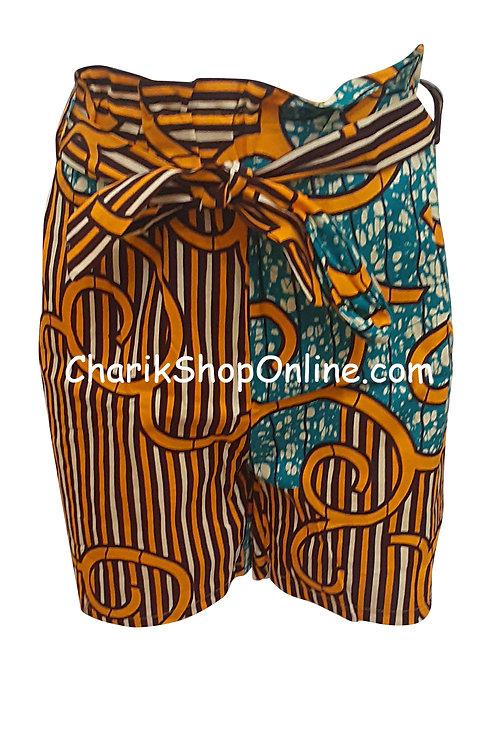 African Ankara print shorts with belt Gold Stream