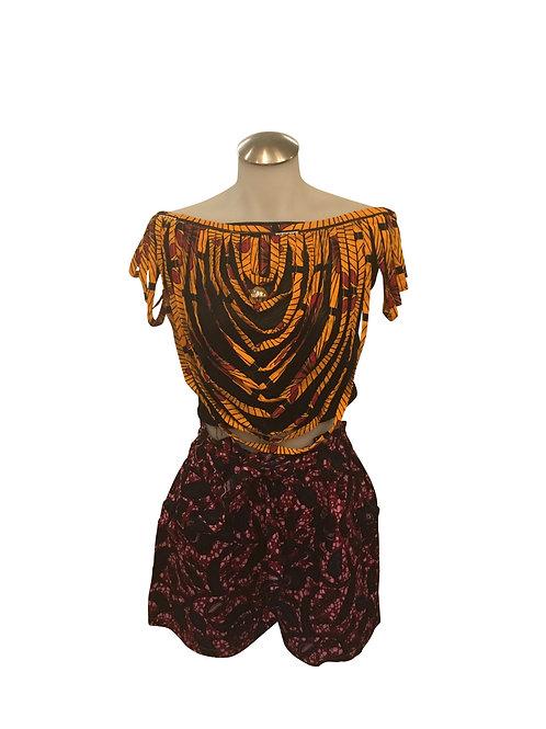 Ankara Print Short Length Over Shoulder Bib Necklace Orange Black