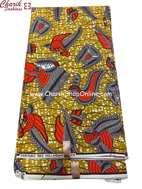 African Wax Print  6 yards/ Ankara fabric/ Red Grey ankara/