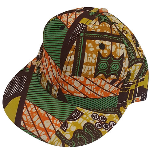 Hip Hop Snapback Green Orange Tan Ankara Cap