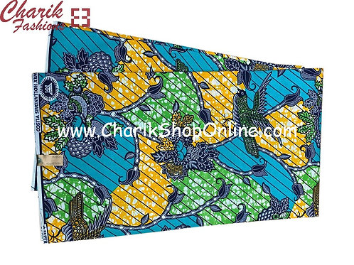 African Wax Print  6 yards/ Ankara fabric/ Blue  Green Nestankara/