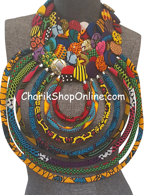 Ankara Print African Bib Necklace #3