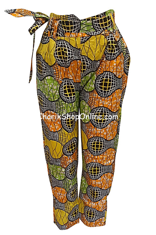 African Blue Sphere V-Cut Ankara print pants with belt