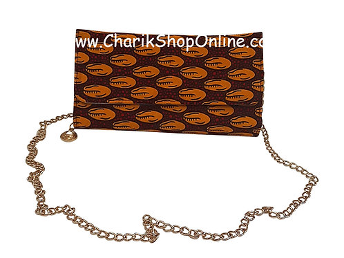 Ankara purse/ kente purse/ Ankara bag/African print bag Orange Pebble