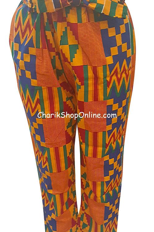 Full Elastic Kente African print pants with belt