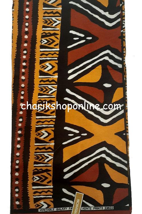 African Fabric 6 Yards/ Mudcloth Print /Gold Journey Bogolan Print
