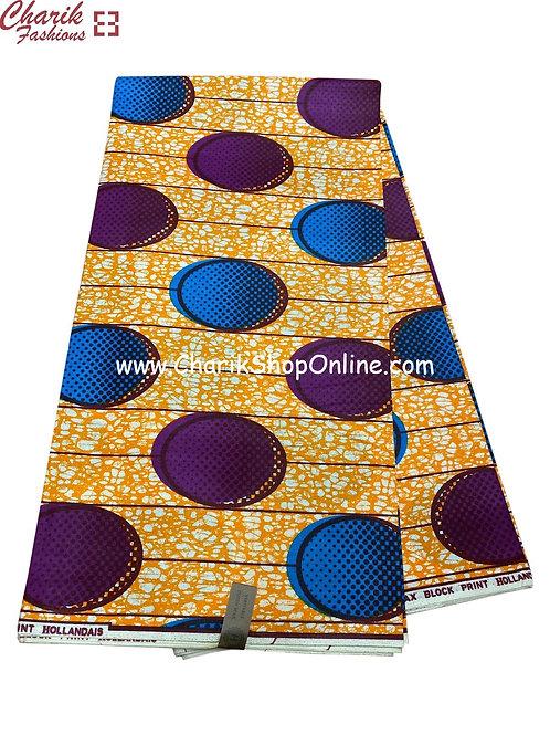 African Wax Print  6 yards/ Ankara fabric/ Blue Button ankara/