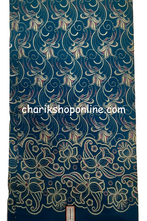 African Wax Print 6 yards/ Ankara fabric/ Raised Blue Cream Leaf ankara/