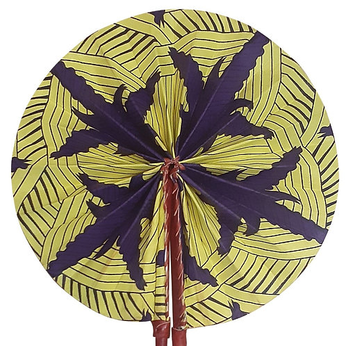 African Folding Hand Fan Blue Points Quality Fabric