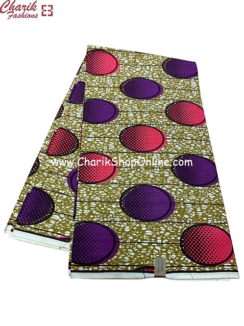 African Wax Print  6 yards/ Ankara fabric/ Purple Pink Button ankara/