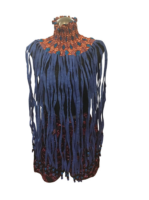Ankara Print Full Length Over Neck Shawl Blue Diamond Neck