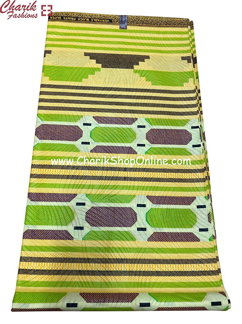 African Wax Print  6 yards/ Ankara fabric/ Lime Oval ankara/