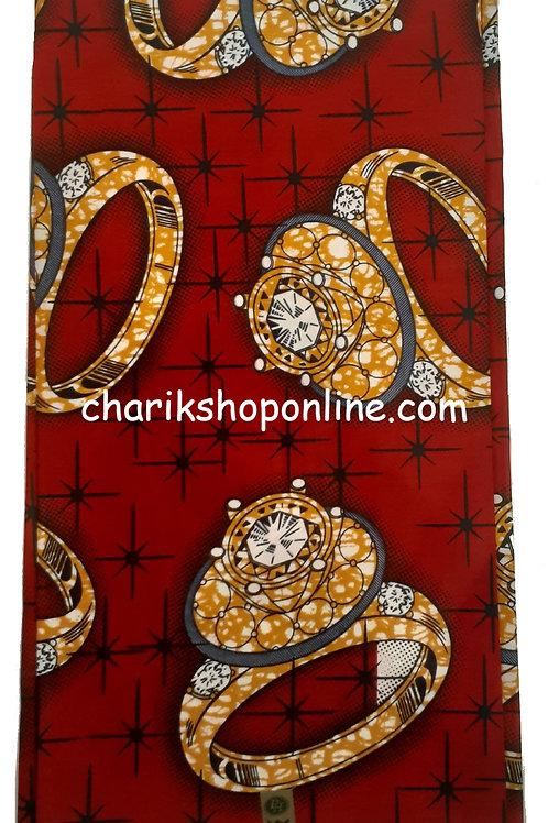 African Wax Print 6 yards/ Ankara fabric/ Red Ring ankara/