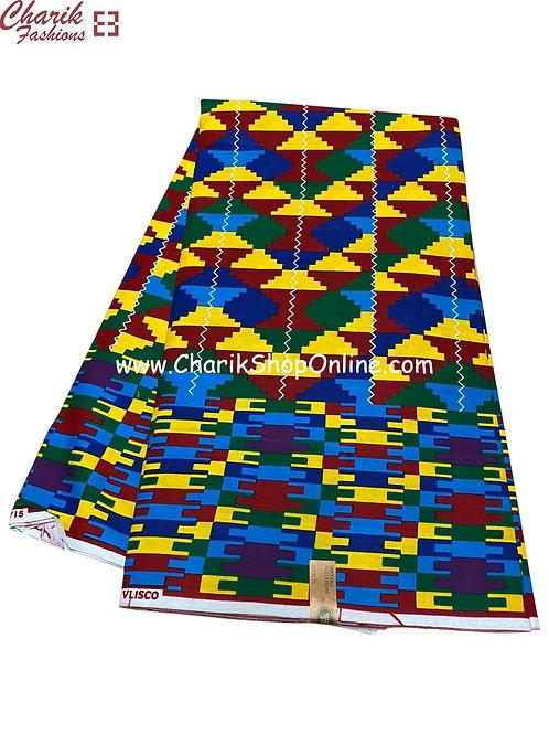 African Wax Print  6 yards/ Ankara fabric/ Blue Purple Puzzle ankara/