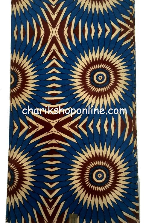 African Wax Print 6 yards/ Ankara fabric/ Blue Fan ankara/