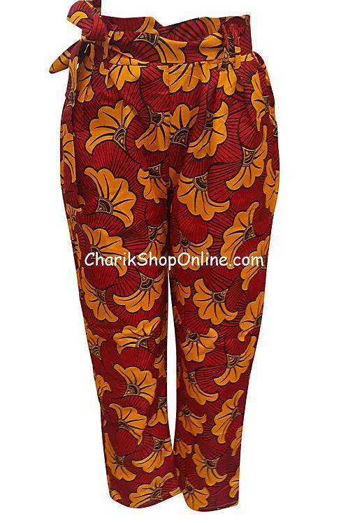 African Orange Bloom V-Cut Ankara print pants with belt