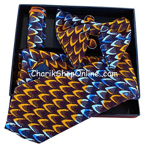 Ankara Blue Gold Scales Print Classic Bow Tie - handkerchief - cuff lin
