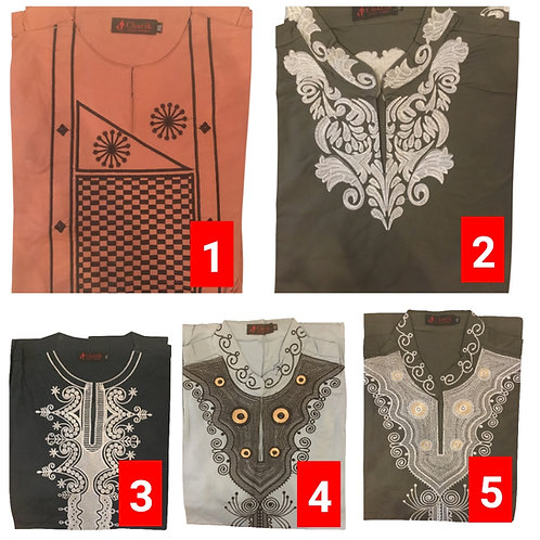 5 African embroidered dashiki men's shirt Size 2XLSet #1