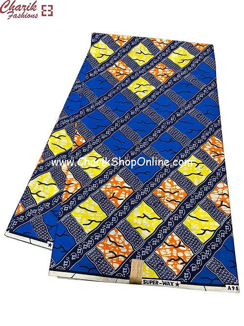 African Wax Print  6 yards/ Ankara fabric/ Blue Orange Yellow ankara/