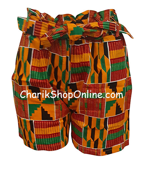African Ankara print shorts with belt OG Kente