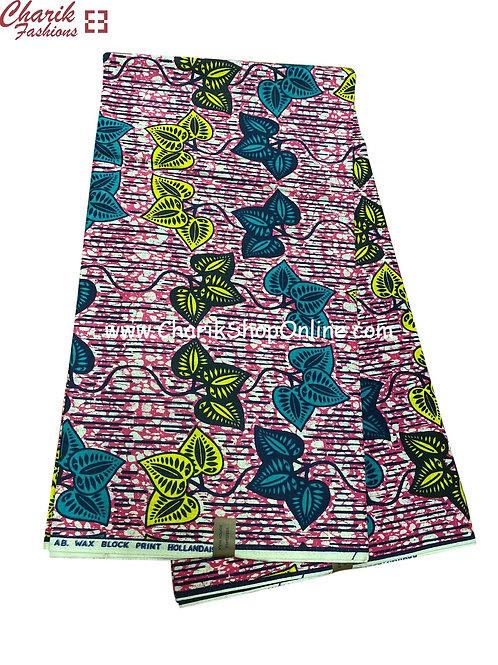 African Wax Print  6 yards/ Ankara fabric/Yellow Blue Leaf ankara/