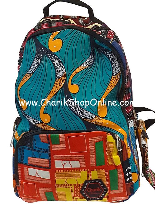 Ankara Print African Print Backpack Red Green Pouch
