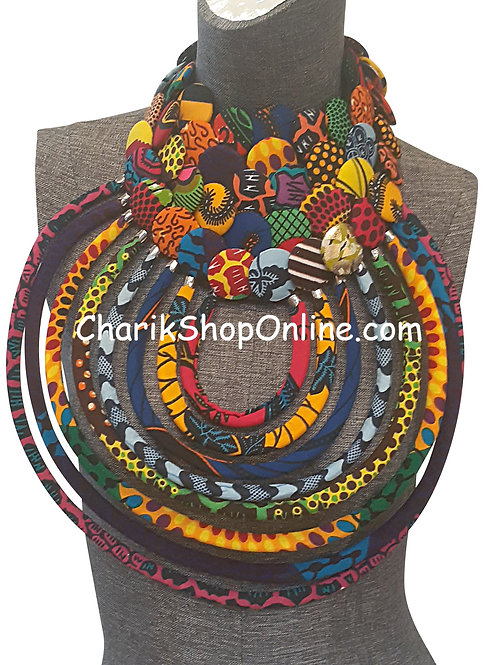 Ankara Print African Bib Necklace #2