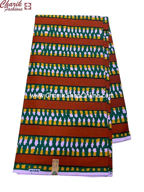 African Wax Print  6 yards/ Ankara fabric/ Brown stripe ankara/