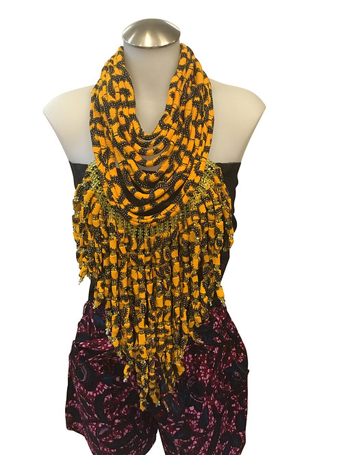 Yellow Green African Print Fabric Long Necklace