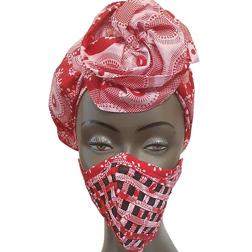 African print adult sized satin Pink Red Bonnet with mask