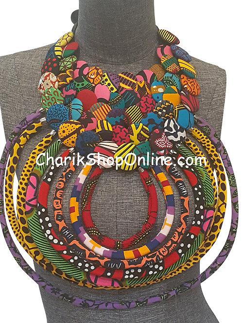 Ankara Print African Bib Necklace #6