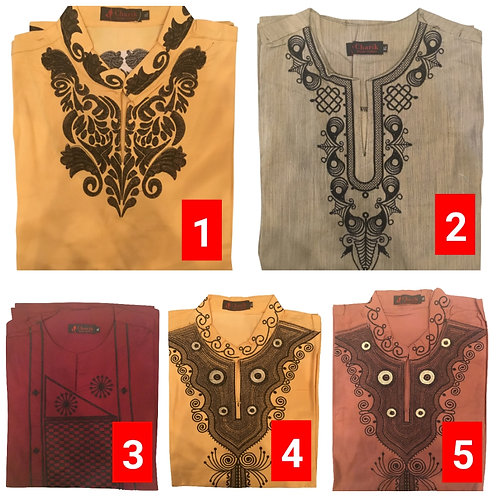 3 African embroidered dashiki men's shirt Size Large Set #6