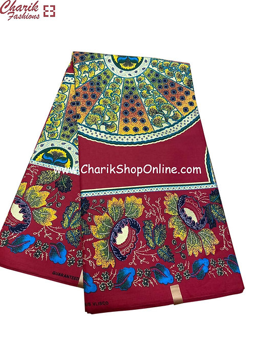 African Wax Print  6 yards/ Ankara fabric/ Plant Life ankara/